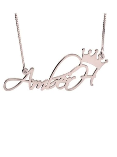 18K Rose Gold Plated Aber style Personalized Princess Crown Name Necklace silver