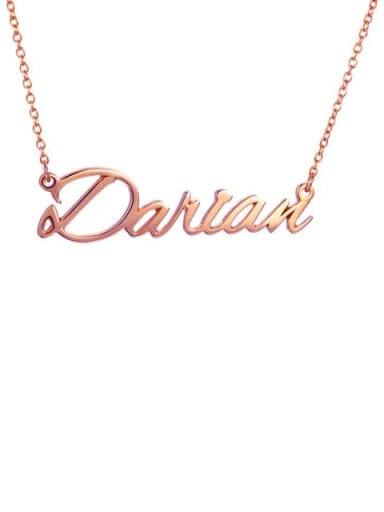 18K Rose Gold Plated Custom Darian style  Name Necklace Silver
