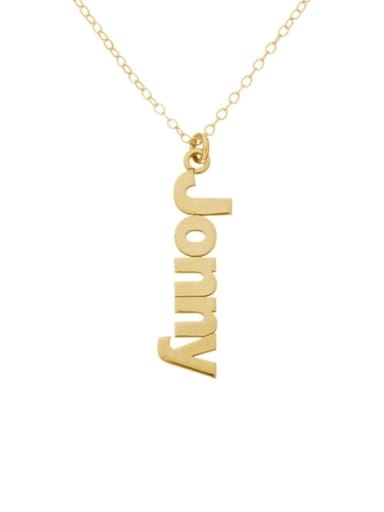 18K Gold Plated Personalized Sidelong Nameplate Necklaces