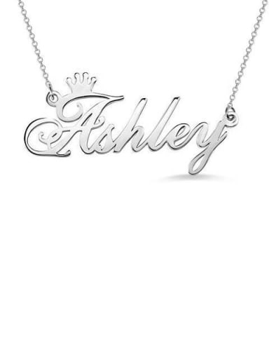 18K White Gold Plated Ashley style Personalized Name Crown Necklace Silver