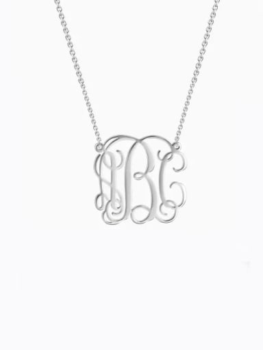 18K White Gold Plated Small Celebrity RBC Monogram Necklace Sterling Silver