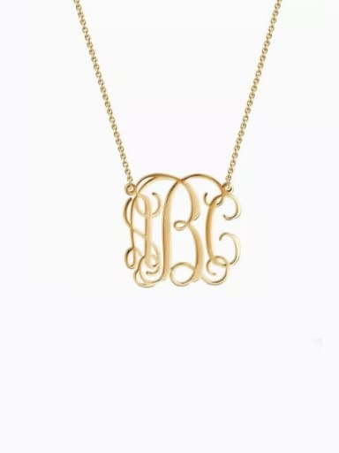 18K Gold Plated Small Celebrity RBC Monogram Necklace Sterling Silver
