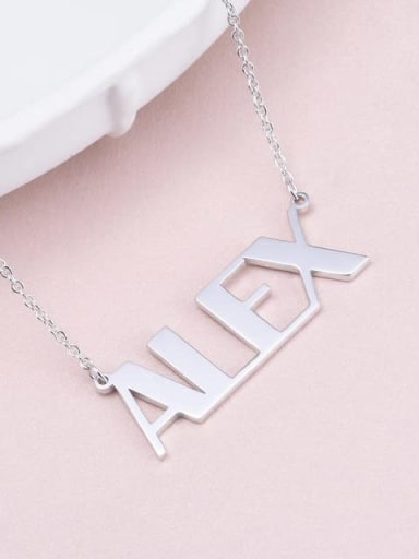 18K White Gold Plated Alex style Silver Personalized Name Necklace