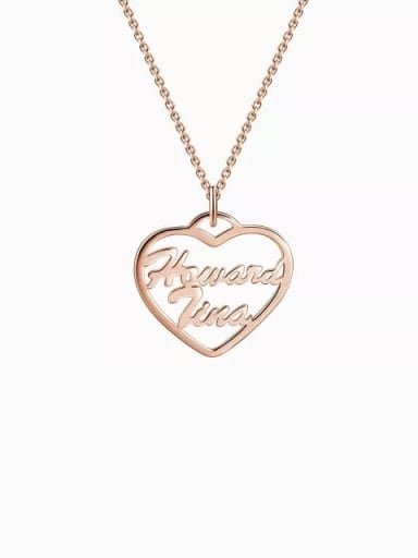 18K Rose Gold Plated Customized Silver Personalized Heart Two Name Necklace