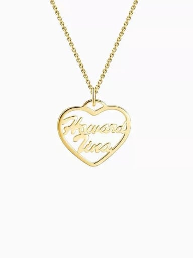 18K Gold Plated Customized Silver Personalized Heart Two Name Necklace