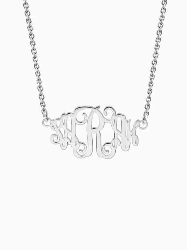 18K White Gold Plated Customize Celebrity Monogram Necklace sterling Silver