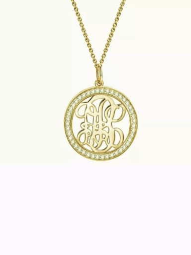 18K Gold Plated Customize Pave CZ Monogram Necklace Sterling Silver