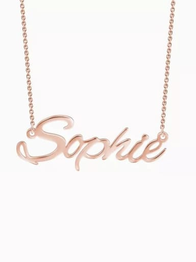 """18K Rose Gold Plated """"Sophie"""" Style Customized Personalized Name Necklace"""