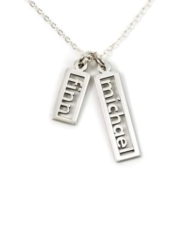 Personalized Open Double Rectangle Name Necklace