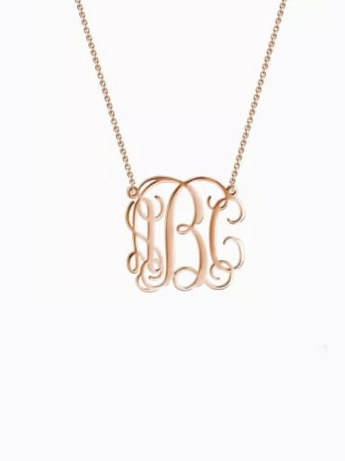 18K Rose Gold Plated Small Celebrity RBC Monogram Necklace Sterling Silver
