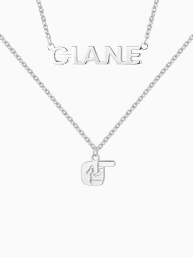 18K White Gold Plated Name Necklace with Layered Gesture silver