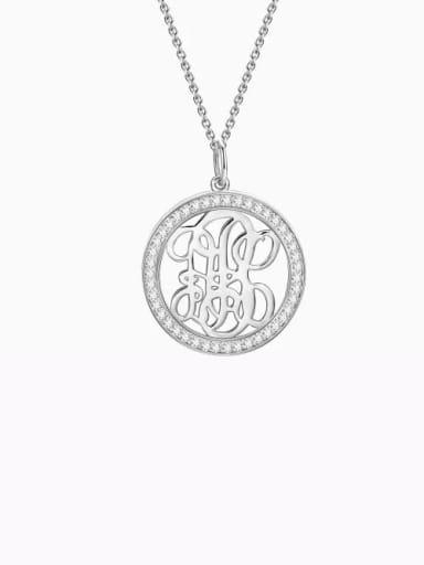 Customize Pave CZ Monogram Necklace Sterling Silver