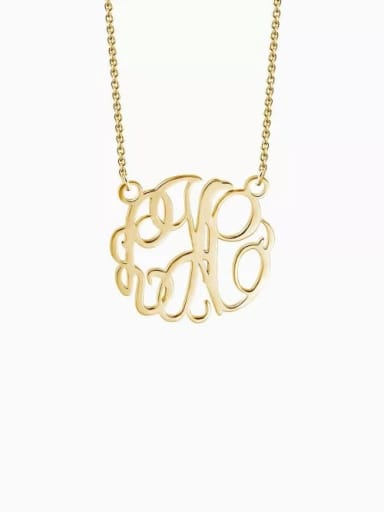 18K Gold Plated Customize Monogram Necklace Sterling Silver