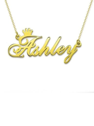 18K Gold Plated Ashley style Personalized Name Crown Necklace Silver