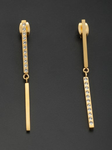 Stainless steel chain Rhinestone Gold Drop threader Earring