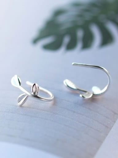 Silver Color S925 Silver  Leaf Stud cuff earring