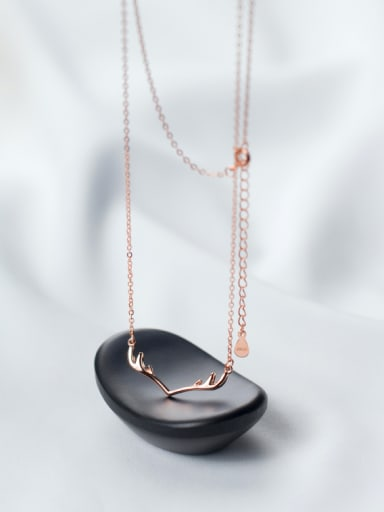 S925 Silver Deer Horn Short Necklace