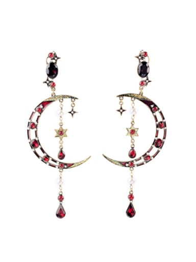 Luxury Moon and Star Shaped Alloy Chandelier earring