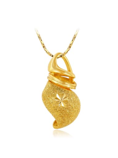 Copper Alloy 24K Gold Plated Classical Creative Stamp Women Necklace