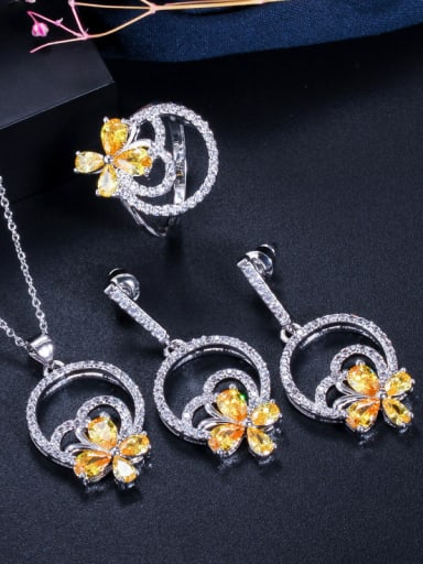 Copper With Cubic Zirconia  Delicate Flower 3 Piece Jewelry Set