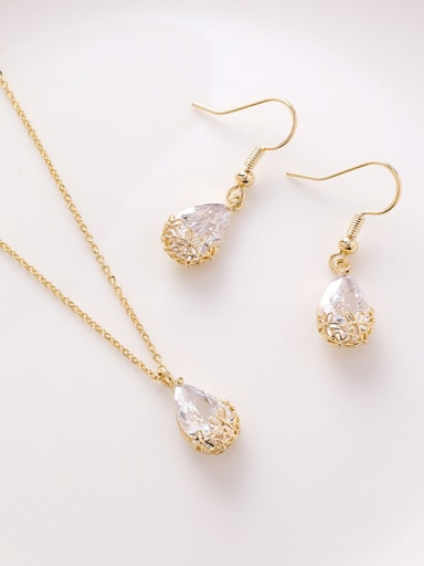Alloy With Cubic Zirconia Simplistic Hollow Water Drop 2 Piece Jewelry Set