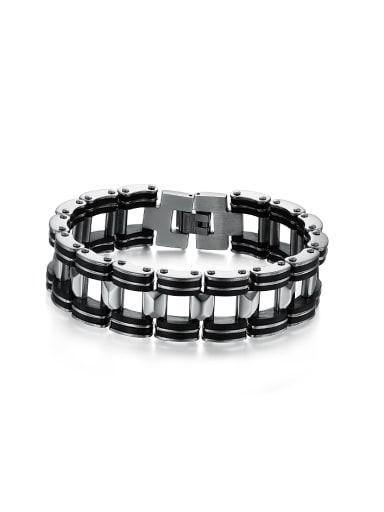 Personalized Black Silicone Titanium Men Bracelet