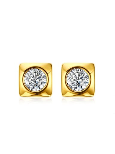 Fashionable Gold Plated Square Shaped Rhinestone Stud Earrings