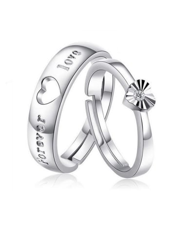 925 Sterling Silver With  Cubic Zirconia Simplistic Heart Loves  Engagement Rings