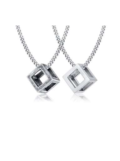 Stainless Steel With Platinum Plated Simplistic Hollow Square Necklaces
