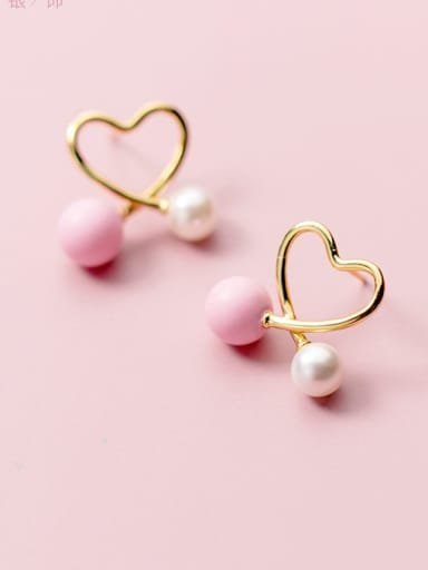 925 Sterling Silver With 14k Gold Plated Cute heart Stud Earrings