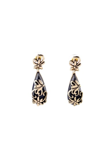 Alloy Carved Flowers Water drop earring