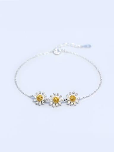 S925 Silver Small Three Daisy Fashion Bracelet