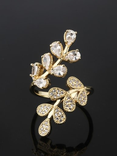 Copper With Cubic Zirconia Trendy Flower Cocktail Rings