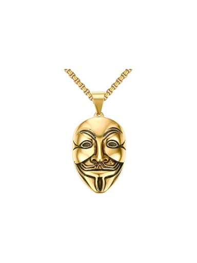Personality Gold Plated Mask Shaped High Polished Pendant