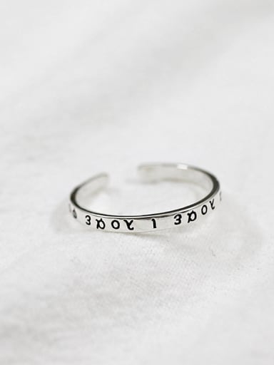 Simple Greek Alphabet Silver Opening Ring