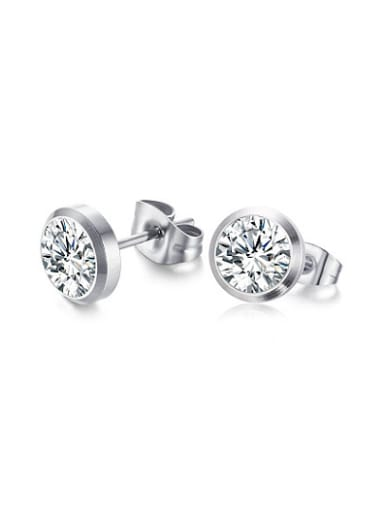 All-match Platinum Plated Round Shaped Zircon Stud Earrings