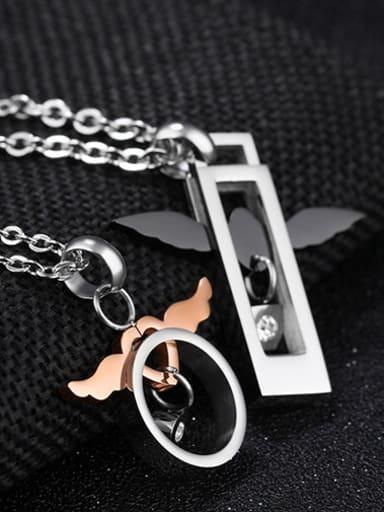 Fashion Angel Wings Pendant Titanium Lovers Necklace