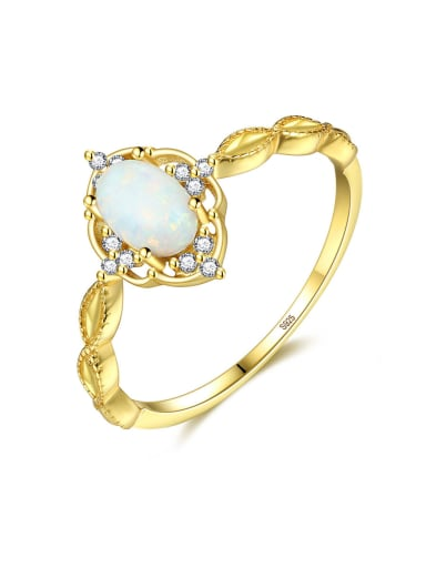 925 Sterling Silver With  Opal Simplistic Oval Band Rings