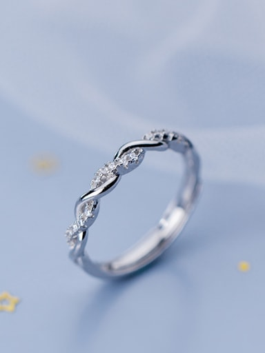 925 Sterling Silver With Silver Plated Simplistic Wavy Knot Free Size Rings
