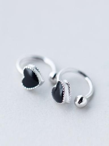 S925 Silver Classical Black Love Fungus Clip