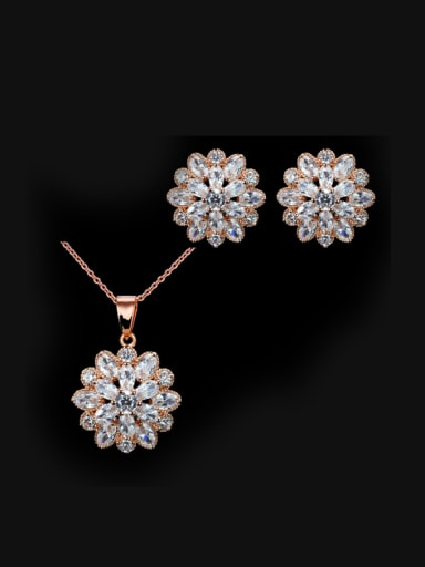 Rose Gold Plated Snowflake Wedding Jewelry Set