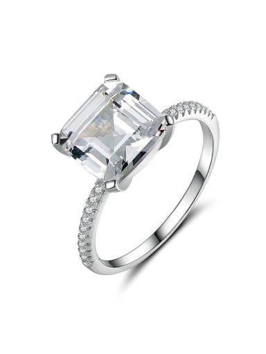 S925 Silver Zircon Engagement Ring