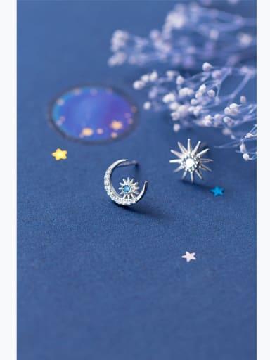 Sterling Silver Blue Zricon asymmetrical moon sun sweet Earrings