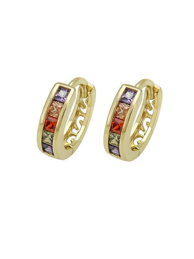 Copper Alloy 14K Gold Plated Hollow Multi-color Zircon Clip clip on earring