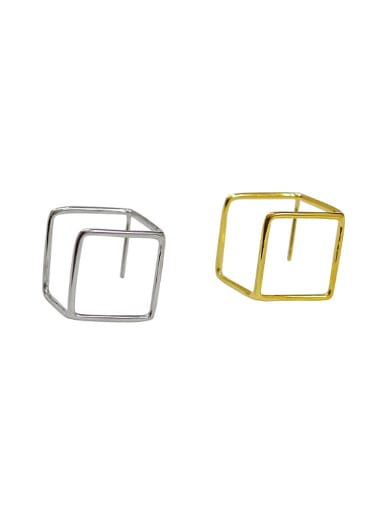 Simple Hollow Cube Silver Smooth Stud Earrings