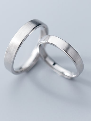 925 Sterling Silver With Smooth Simplistic Round Free Size Engagement  Rings