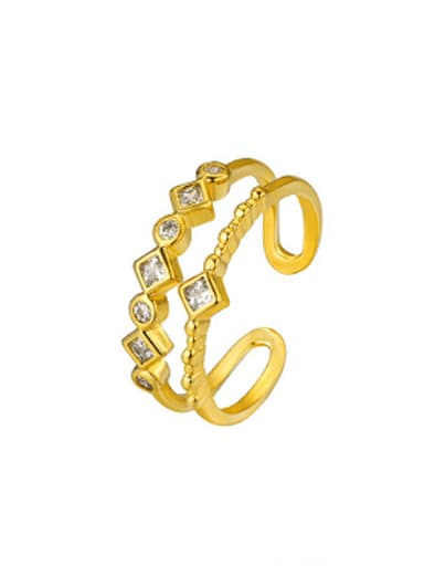 Fashion Two-band Zircon Opening Ring
