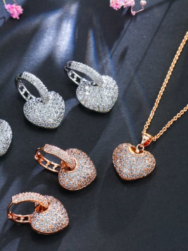 Luxury Shine High-Quality Zircon heart love  Necklace Earrings 2 Piece jewelry set