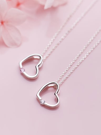 925 Sterling Silver With Silver Plated Simplistic Heart Necklaces