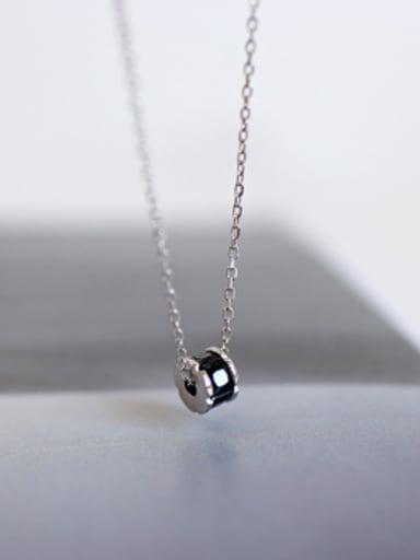 Simple Black Zircon-studded Bead Pendant Silver Necklace